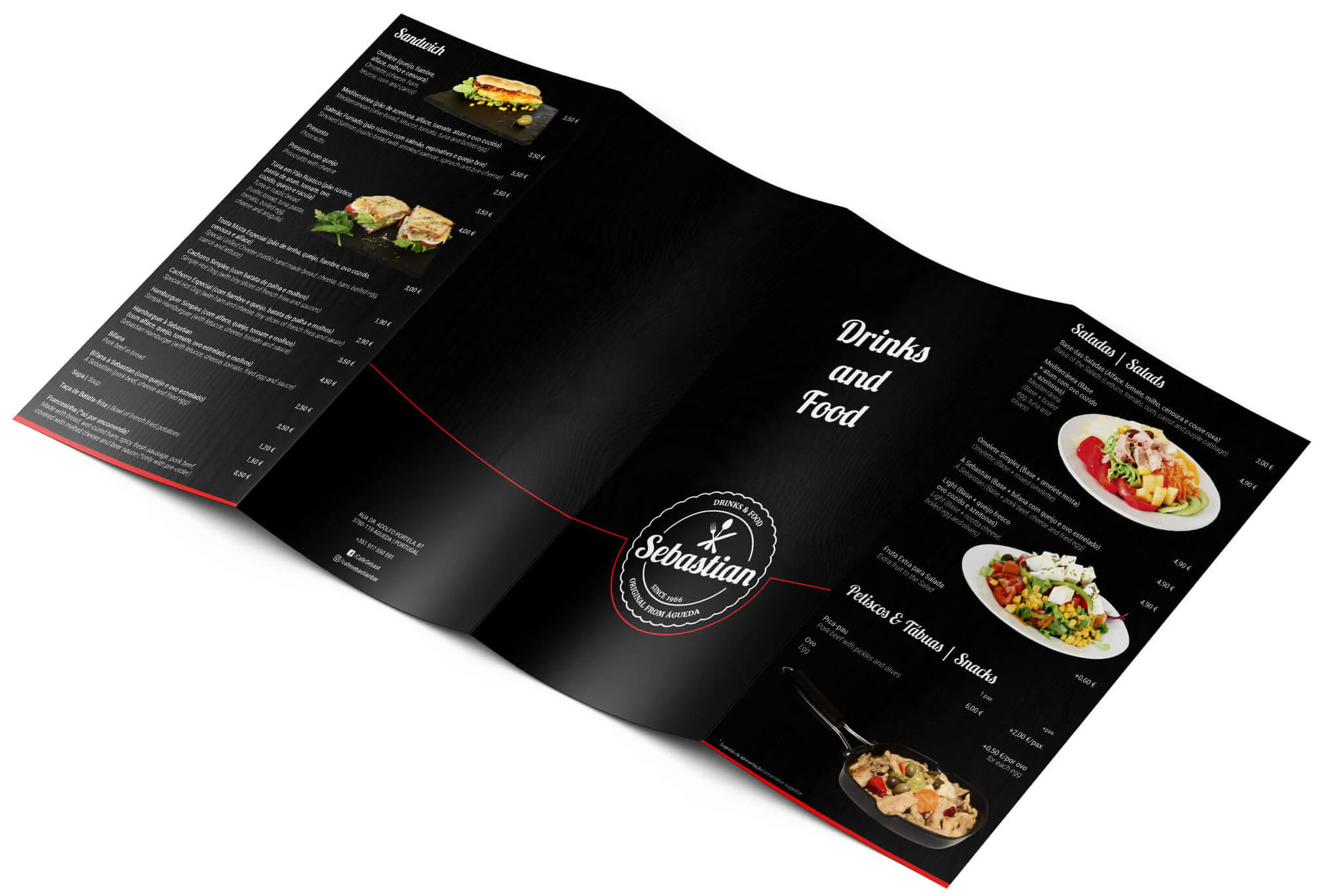 Café Sebastian Bar - Menu Mockup - Exterior | Way2Start - Design & Digital Agency